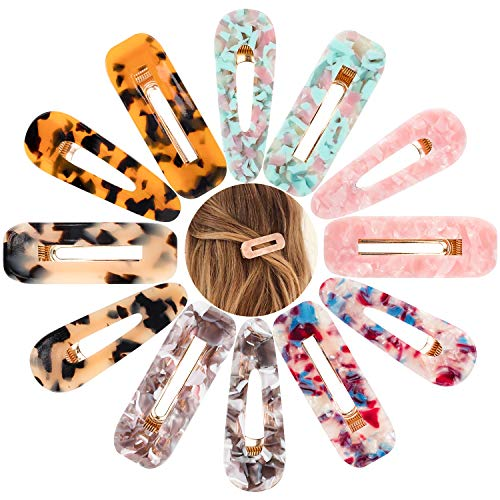 Whaline Acrylic Resin Hair Barrettes, Fashion Hair Clips Leopard Print Vintage Hair pins Geometric Marble Hair Barrette for Women Girls Hair Accessories(12Pcs)