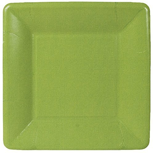 Caspari Entertaining Grosgrain Border Square Salad/Dessert Plates, Moss Green, 8-Pack by Caspari