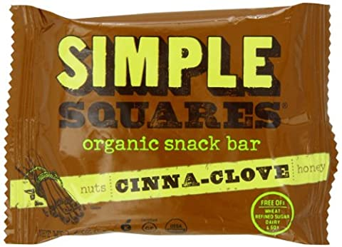SIMPLE Squares Organic Whole Food Protein Bar, Cinnamon Spice, 1.6 Ounce (Pack of 12) - Cinnamon Organic Sugar