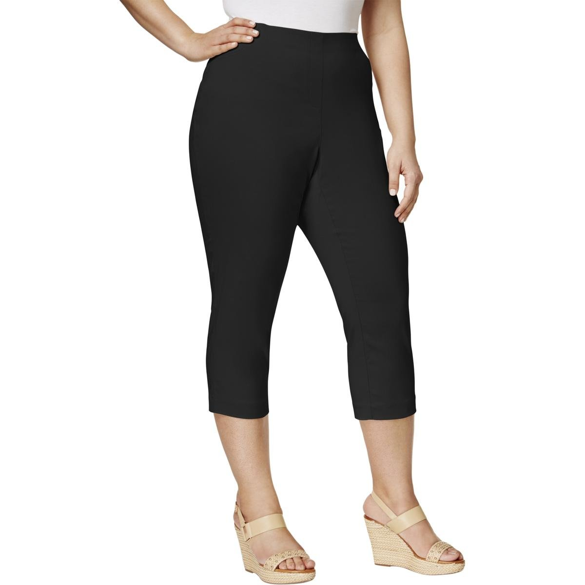 Style & Co.. Womens Plus Comfort Waist Pull On Capri Pants Black 24W by Style & Co.