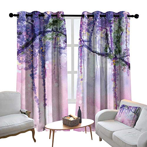 Lewis Coleridge Blackout Curtains for Bedroom Watercolor Flower,Wisteria Flowers on Blurred Background with Dreamy Colors,Purple Pale Pink Green,Darkening Grommet Window Curtain-Set of 2 54