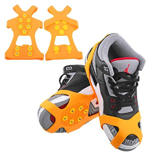 Ice Cleats, HoFire Ice Grips Traction Cleats Grippers Non-slip Over Shoe/Boot Rubber Spikes Crampons Anti Easy Slip 10 Steel Studs Crampons Slip-on Stretch Footwear (10-Studs-Orange, XL)