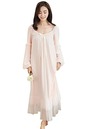 Women s Nightgown Cotton V-Neck Pajama Nightwear Long Sleeve Vintage  Sleepwear Lounge Dress at Amazon Women s Clothing store  a0670fbb8
