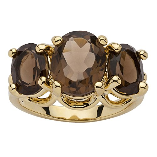 Oval Green Quartz Ring - Palm Beach Jewelry 14K Yellow Gold-Plated Oval Cut Genuine Smoky Quartz 3-Stone Ring Size 6