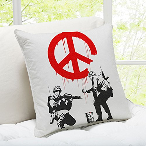 (iLeesh Banky Art Throw Pillow, Soldiers Painting Peace Sign Gray)