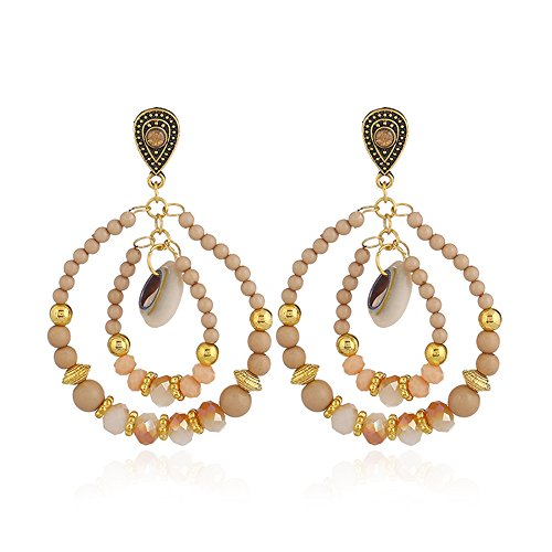 Ring Dangle Engagement Bead (Lihin Stylish Women Earrings Women Folk-Custom Glass Bead Stud Earrings Pendant Earrings Dangle Earrings(Champagne))