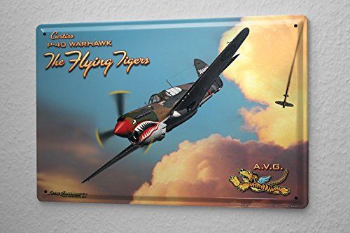 Nostalgic Tin Sign Bar Restaurant Decorative Metal Plate Fighter pilots World War 2 aircraft (Aircraft Sign)
