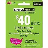 SIMPLE Mobile Refill Card - $40 ReUp Prepaid Airtime Card
