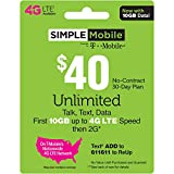 SIMPLE Mobile Refill Card - $40 ReUp Prepaid Airtime Card (Physical Card Shipped)