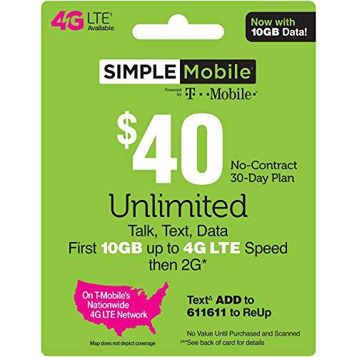 - SIMPLE Mobile Refill Card - $40 ReUp Prepaid Airtime Card