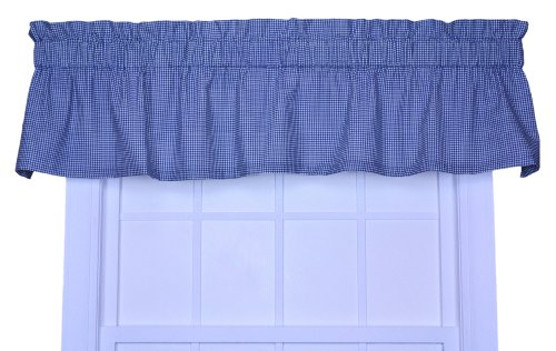 Logan Cotton Curtain (Logan Gingham Check Print Tailored Valance Window Curtain, Blue)
