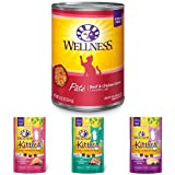 Wellness Natural Grain Free Wet Canned Cat Food, Beef & Chicken Pate, 12.5-Ounce Can (Pack of 12) with Wellness Kittles Crunchy Natural Grain Free Cat Treats, 2-Ounce Bag (3 Bag Variety)