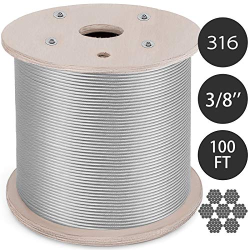 Mophorn 316 Stainless Steel Cable 3/8 Inch 7 X 19 Steel Wire Rope 100Feet Steel Cable for Railing Decking DIY Balustrade (3/8