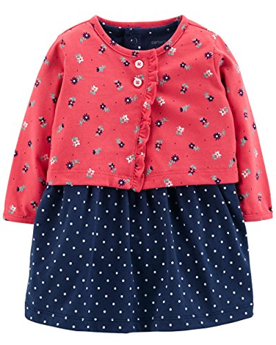 Carter's Baby Girls 2 Piece Bodysuit Dress and Cardigan Sweater Set, Pink/Navy,3 ()
