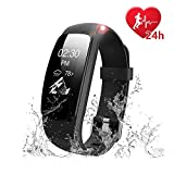 Fitness Tracker SoChange ID107Plus HR Fitness watches IP67 Waterproof 0.96''OLED Touchscreen Bluetooth Activity Tracker - Heart Rate Measurement 14 Sports Mode Breathing Guidance (Black)