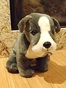 "Amazon.com: Pitbull Stuffed Animal Dog - 16"" Large Gray"
