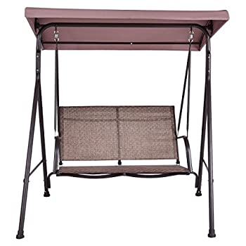 Tangkula Outdoor Swing Deck 2 Person Canopy Porch Swing Hammock Bench Loveseat