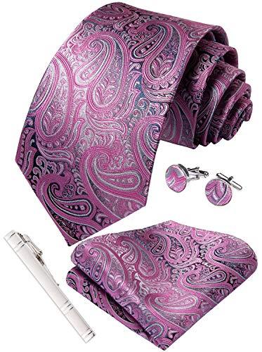 DiBanGu Grey Pink Paisley Tie and Pocket Square Mens Wedding Necktie Cufflink Tie Clip Sets Woven