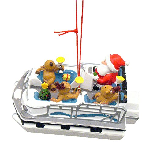 Boat Ornament - Cape Shore Santa and Reindeer Party Boat Christmas Ornament