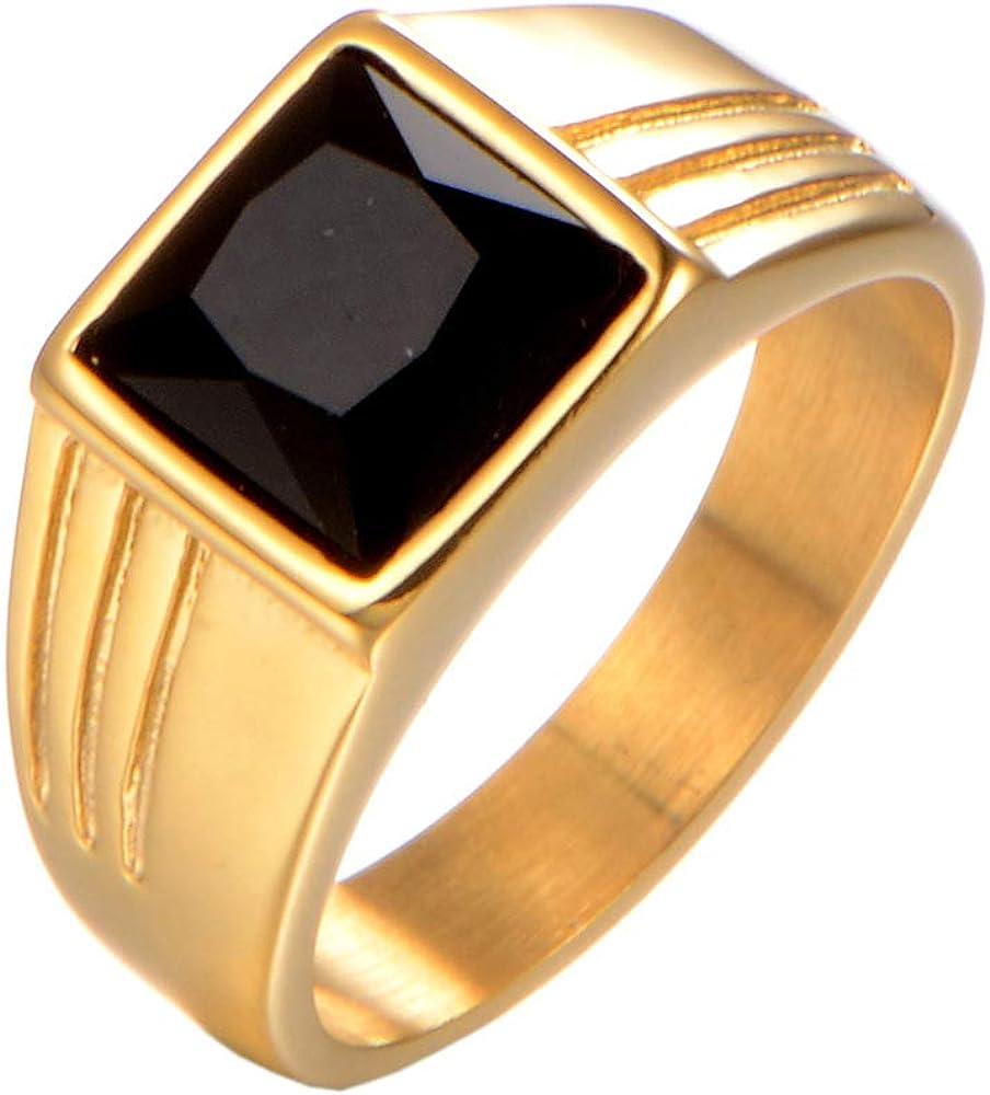 PAMTIER Men's Stainless Steel Square Gemstone Ring