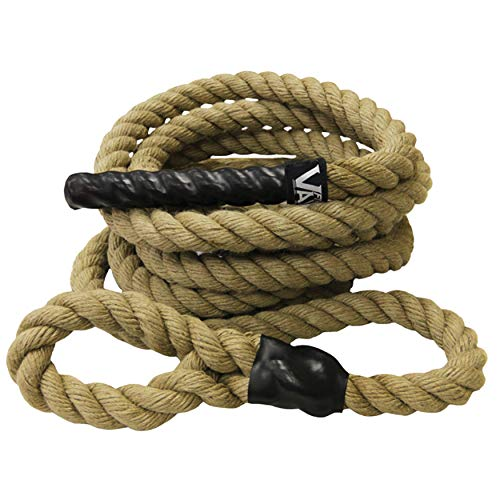 Valor Fitness CLR-25 Sisal Climbing Rope for Cross Training and Functional Conditioning - 25' Rope Length, Spliced to Create Loop