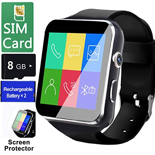 Smart Watch for Android Phones[FREE SIM 8G SD CARD],Business Touch Screen Smartwatch with Two-way Calling Texting Internet Music Player Camera,Unlocked Cell Phone Watches for Men Women Back to School
