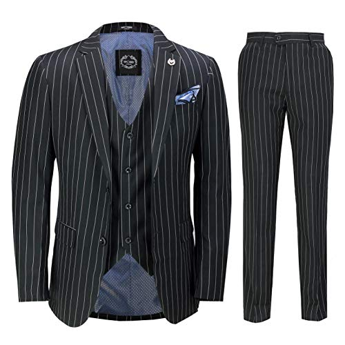 (Mens 3 Piece Pin Stripe Suit Black White Retro 1920s Peaky Blinders Gatsby Style[SUIT-2B2810-BLACK-46,UK/US 46 EU 56,Trouser 40