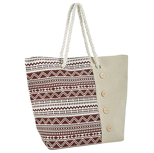 Holiday Canvas Aztec Red Shopping Tote Handbag Shoulder Ladies Beach Bag 6OnqUnR07w