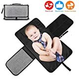 DAMIGRAM Baby Portable Nappy Changing Mat, Waterproof & Foldable Changing Pad with Head Cushion Pockets, Keep Baby Clean for Home Travel Outside