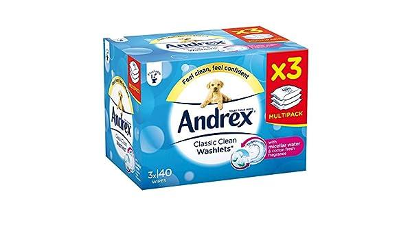 Toallitas higiénicas Classic Clean de Andrex, 3 unidades: Amazon.es: Salud y cuidado personal