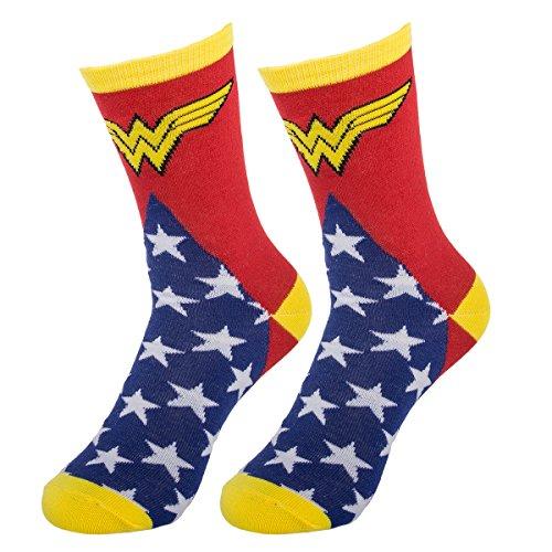 Bioworld (1 Pair) Women's Wonder Woman Crew Socks, D.C. Comic Books, Fits Ladies Shoe Size - Socks Wonderwoman