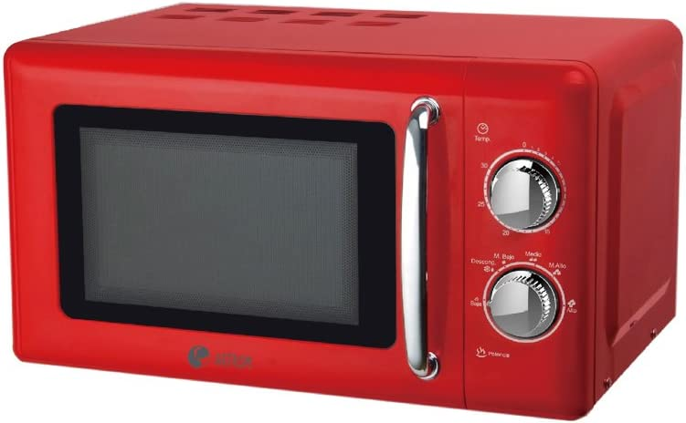 Artrom MM-720RML - Microondas retro, 700 W, color rojo