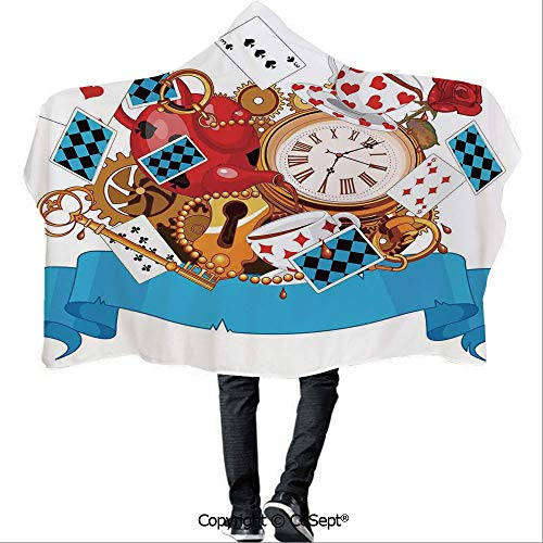 SCOCICI Hooded Blankets,Mad Design of Cards Clocks Tea Pots Keys Flowers Fantasy World Illustration Decorative,Unisex All Ages One Size Fits All(59.05x43.30 inch),Multi