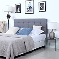 Classic Deluxe Tufted Grey Fabric Headboard (Queen)