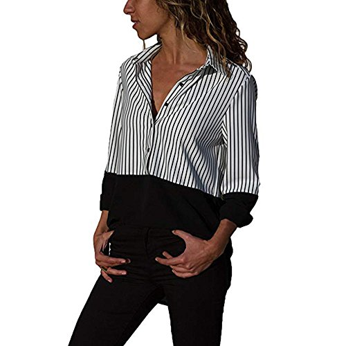 WEUIE Clearance Womens Blouses Womens Casual Long Sleeve Color Block Stripe Button T Shirts Tops Blouse(XL, Z01) ()