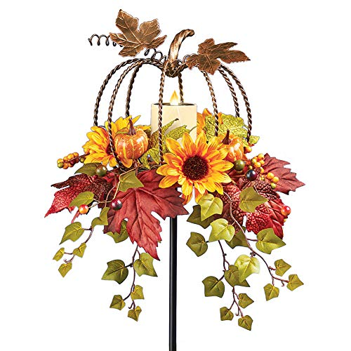 Collections Etc Solar Pumpkin Shaped Floral Yard Stake with Flickering Candle Features Autumn Leaves, Berries, Hanging Ivy, Pumpkins and Sunflowers