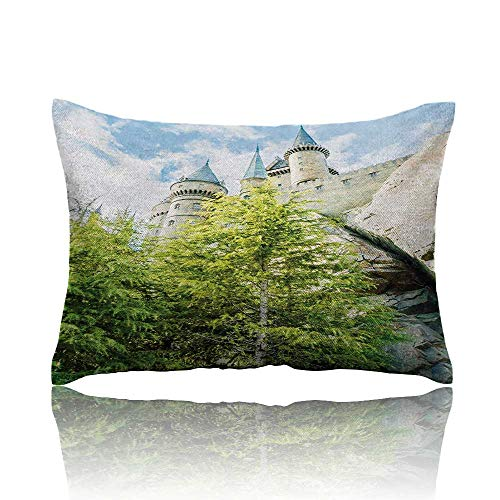homehot Wizard Mini Pillowcase Witchcraft School and Wizard Castle in Woods Replica in Japan Picture Print Fun Pillowcase 13