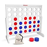 GoSports Giant Wooden 4 in a Row Game Huge 4' Width with Rules and Tote Bag for Coins