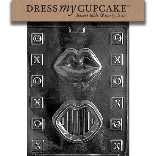 Dress My Cupcake DMCV099SET Chocolate Candy Mold, Lips P/B, Set of 6