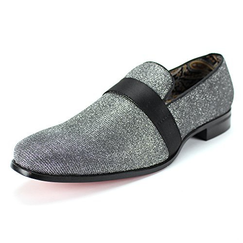 AFTER MIDNIGHT 6660 Velvet Smoker Strap Smoking Slipper Loafer Slip on High Fashion Dress Shoe (11, Gunmetal) by AFTER MIDNIGHT