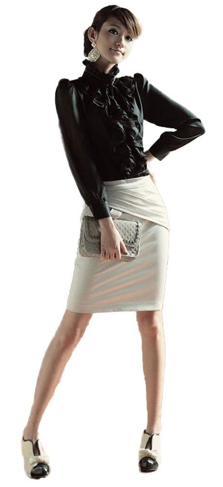 ezShe Women's Stand up Collar Lotus Ruffle Satin Shirt Blouse Black 2XL