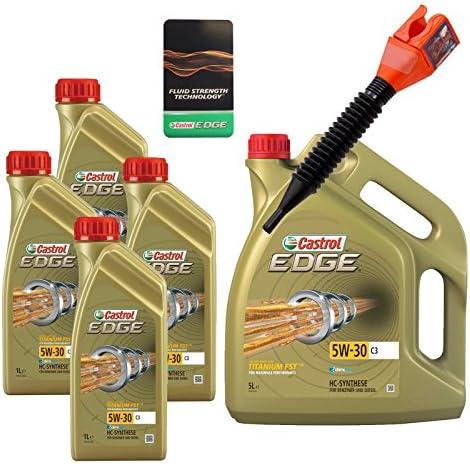 4x 1 L 5 L 9 Liter Castrol Edge Fluid Titanium 5w 30 C3 Motoröl Inkl Castrol Ölwechselanhänger Und Einfülltrichter Auto