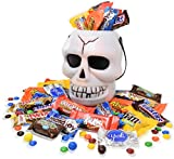 Halloween Skull White Bucket with Almond Joy, Nestle, Reeses,M&M, Snickers and KitKat, Assorted Chocolate Bar Candies, 2 Lbs