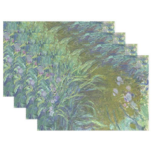 WIHVE Placemats Set of 6, Irises Monet Art Oil Paintings Holiday Non Slip Heat-Resistant Washable Polyester Table Place Mats for Kitchen Dining Table, 12