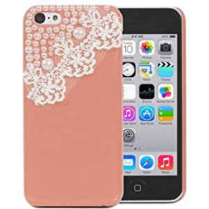 FiveBox DIY Hand Made Lace Pearl Bling Hard Case Cover for Apple iphone 5C (Orange)