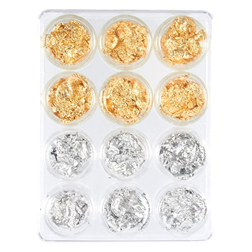 Gold Silver Foil - Foil Nail Art Set, 12 Pack Nail Accessories for Foil Transfer, Nail Paillette for Decoration, Flake and Mirror Effect | Gold and Silver