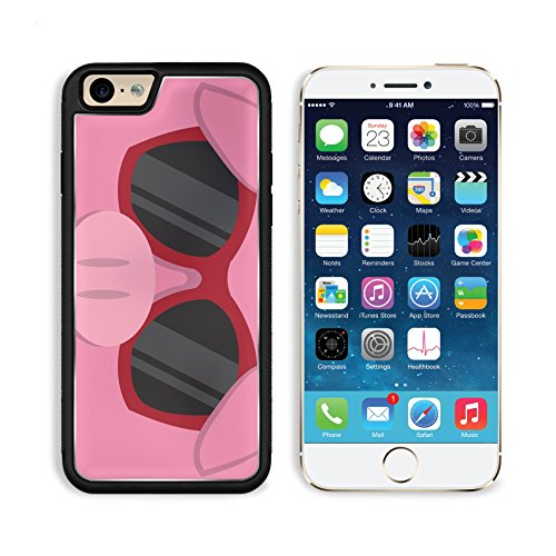 Liili Premium Apple iPhone 6 iPhone 6S Aluminum Backplate Bumper Snap Case iPhone6 IMAGE ID: 18010975 Cartoon pig head with - Sunglasses With Cartoon Character