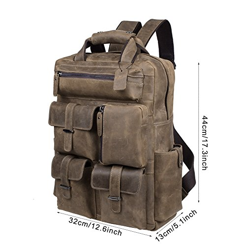 S-ZONE Vintage Crazy Horse Genuine Leather Backpack Multi Pockets Travel Sports Bag by S-ZONE (Image #5)