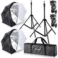 Neewer Studio Digital Flash Mount Two Removable Black Cover Umbrella Kit 33/84cm for Canon 430EX II,580EX II,Nikon SB600 SB800,Yongnuo YN 560,YN 565,Neewer TT560,TT680