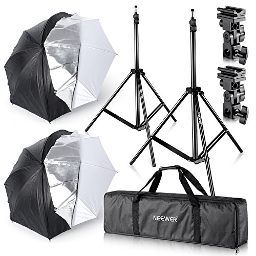 Neewer Studio Digital Flash Mount Two Removable Black Cover Umbrella Kit 33